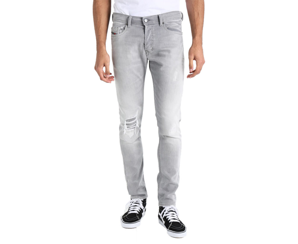 diesel tepphar 0687w mens denim jeans distressed stretch slim fit carrot grey