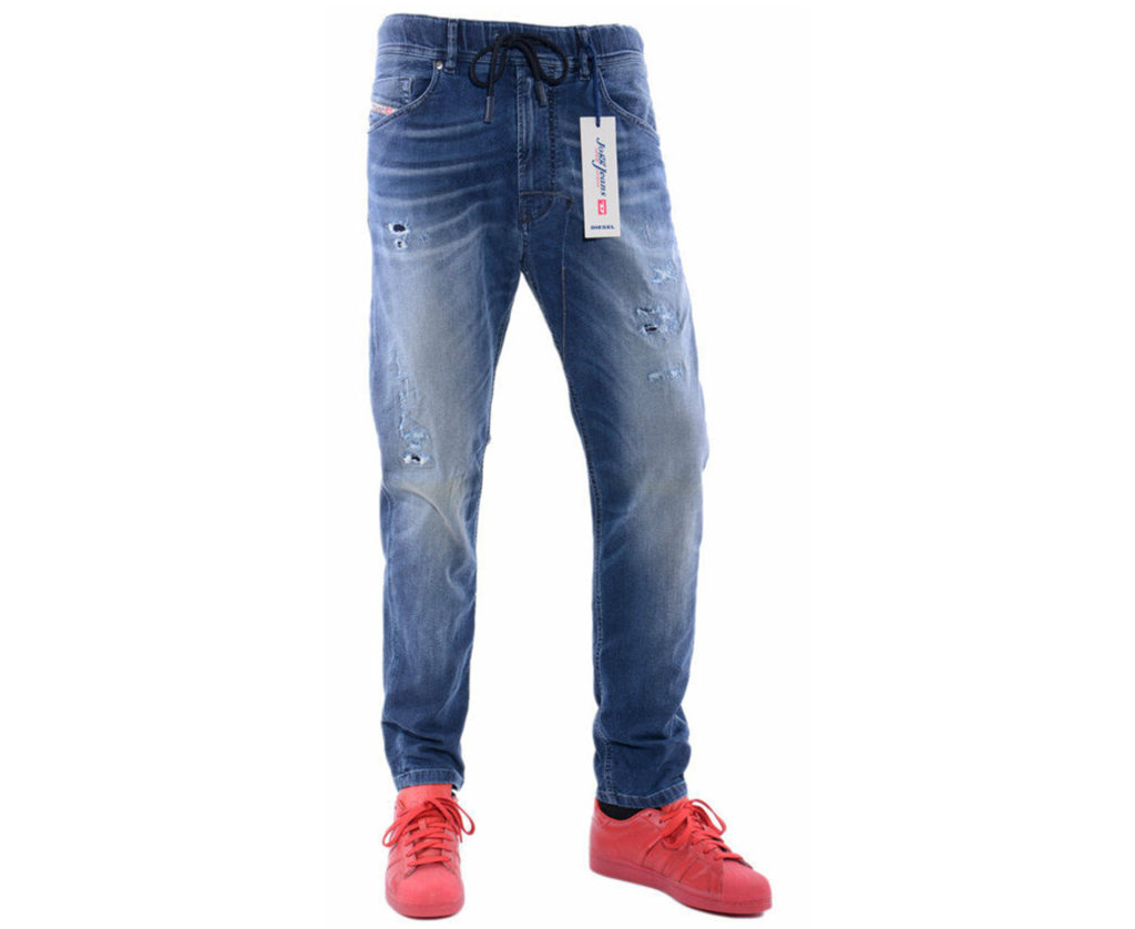 diesel narrot ne 0666w mens denim sweat jogg jeans distressed regular fit carrot