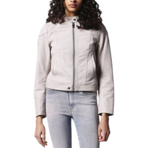 diesel l ginny womens genuine leather biker jackets size s slim fit zipper coat