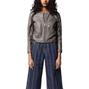 diesel l-heze womens biker jacket genuine leather slim fit winter outwear coat 1 of 6