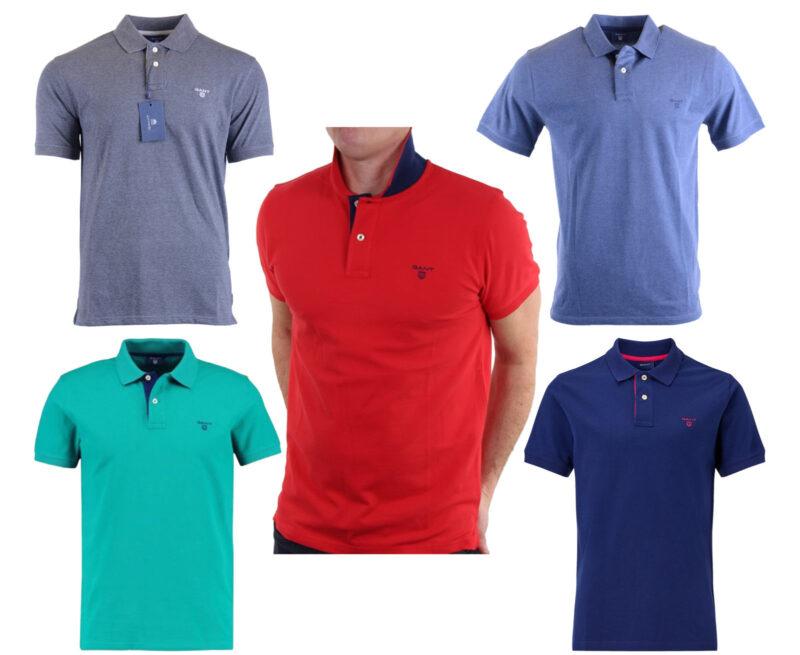 ee952956 GANT Shield SS Mens Polo Shirt Red Blue Dark Grey Golf T-Shirt Size S M L  XL XXL