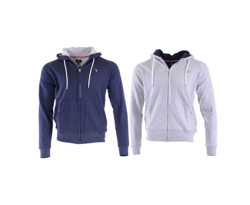 cf8fc9fd0d1 GANT Original Mens Hoodie S - XL Sweatshirt Winter Lounge Wear Zipped Grey  Navy