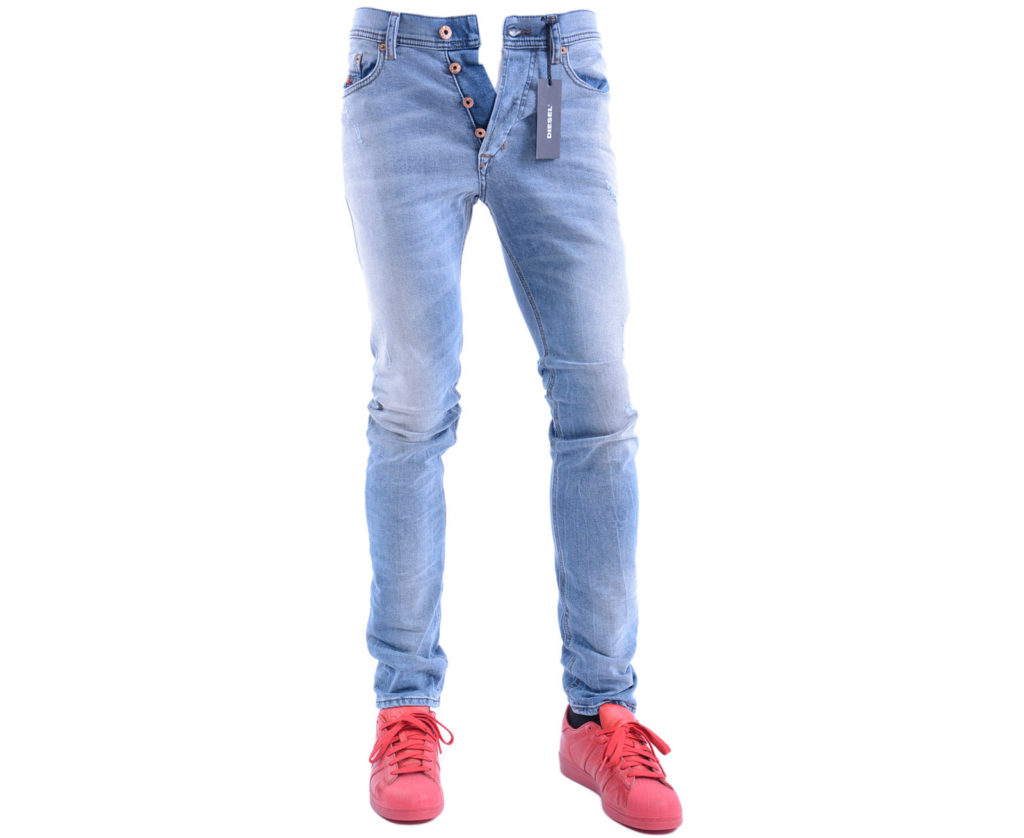 diesel tepphar 0854z mens denim jeans distressed lyocell stretch slim fit carrot