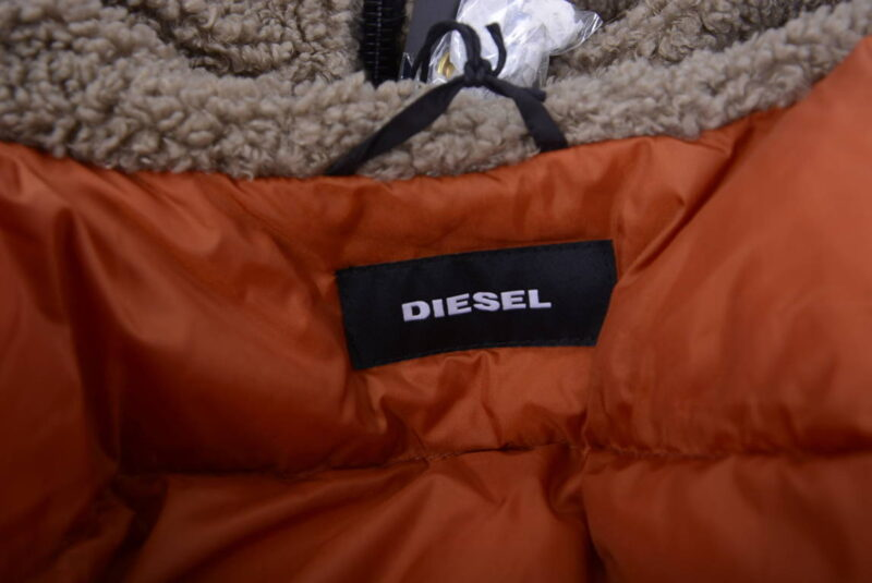 diesel w esk mens quilted jacket fur hoody padded puffer winter hoodie black