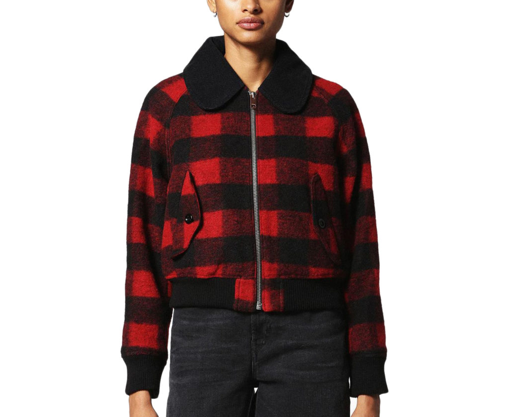 diesel w-rosie womens quilted jacket xxs xs red buffalo check winter outwear