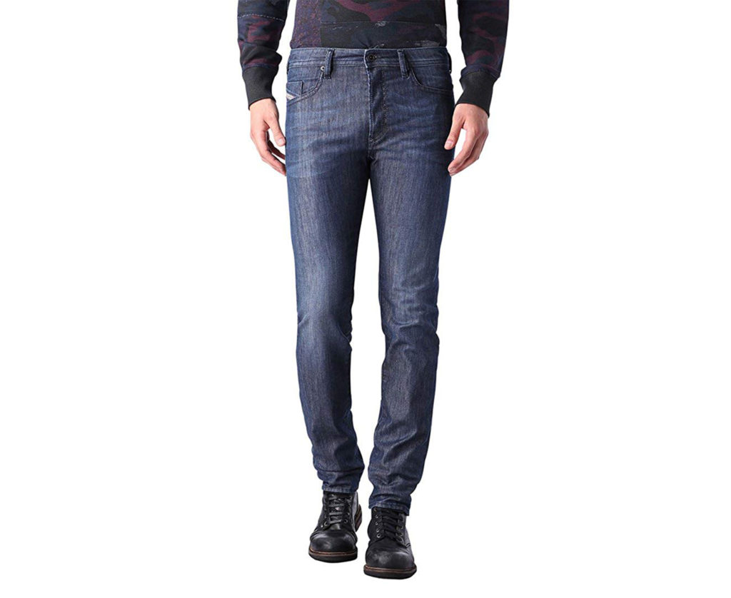 diesel buster 0844g mens denim jeans regular slim tapered casual blue trousers