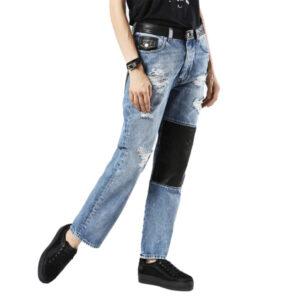 diesel de myki w24 - w31 womens jeans trousers blue distressed slim fit straight