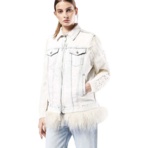 diesel de-fury 0wajf womens denim jacket detachable fur sleeveless reversible