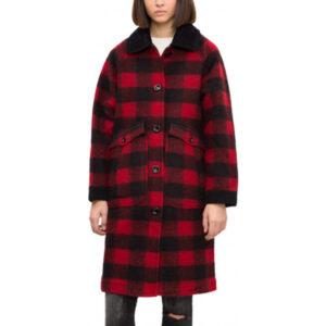 diesel w-dana womens waistcoat single breasted trench xs s red buffalo check