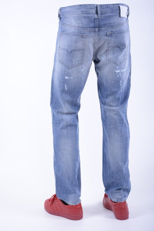 diesel buster 080cm mens denim jeans distressed regular slim fit tapered leg