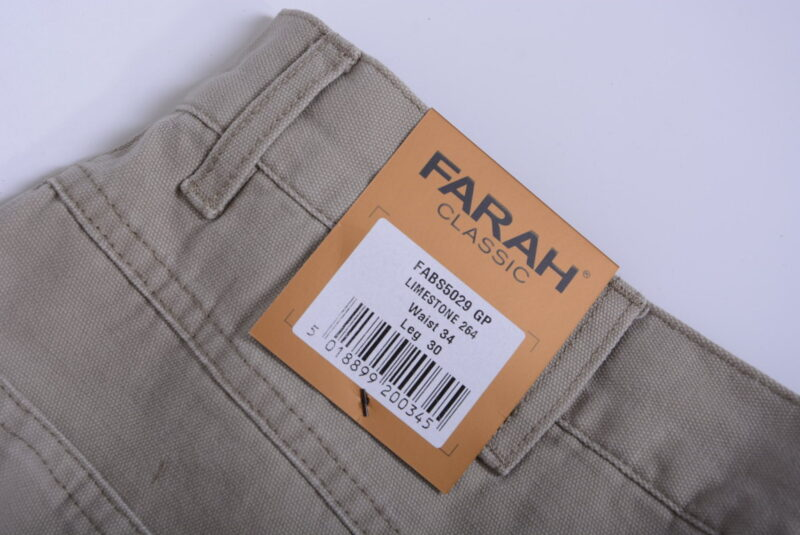 farah classic fabs5029 mens trousers flat straight lime stone 264 cotton twill