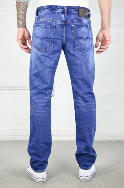diesel buster 0850z mens denim jeans plain regular slim tapered casual blue pant