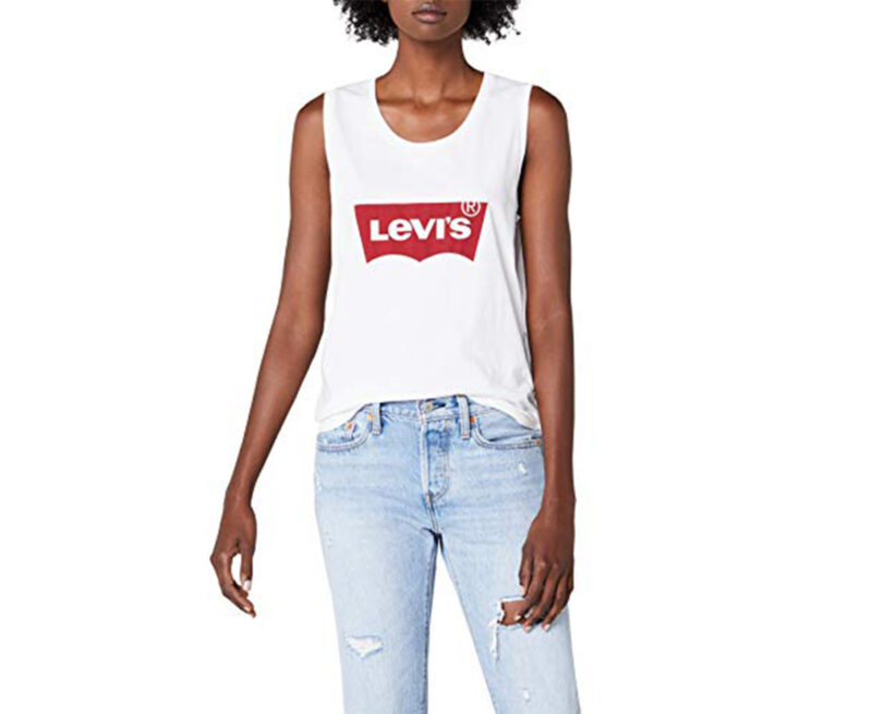 levi's womens vest top crew neck summer casual black white sleeveless tank tops