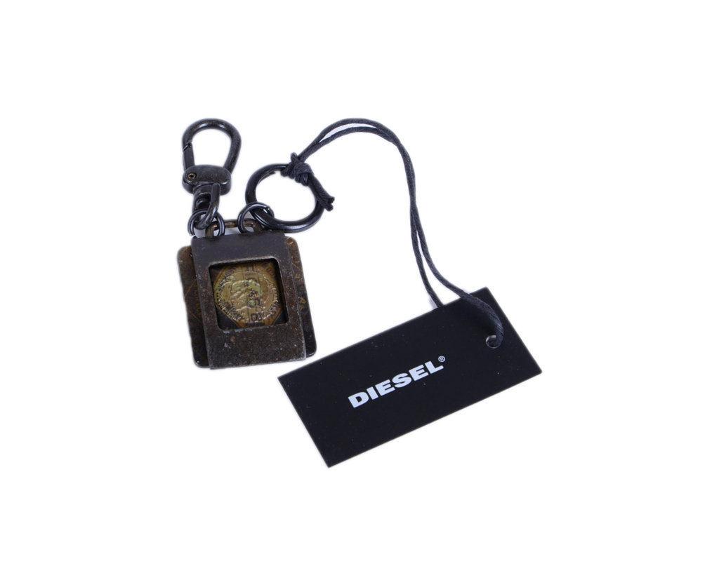 DIESEL Unisex Keyring Black Vintage Metal Fob Hook Key Holder