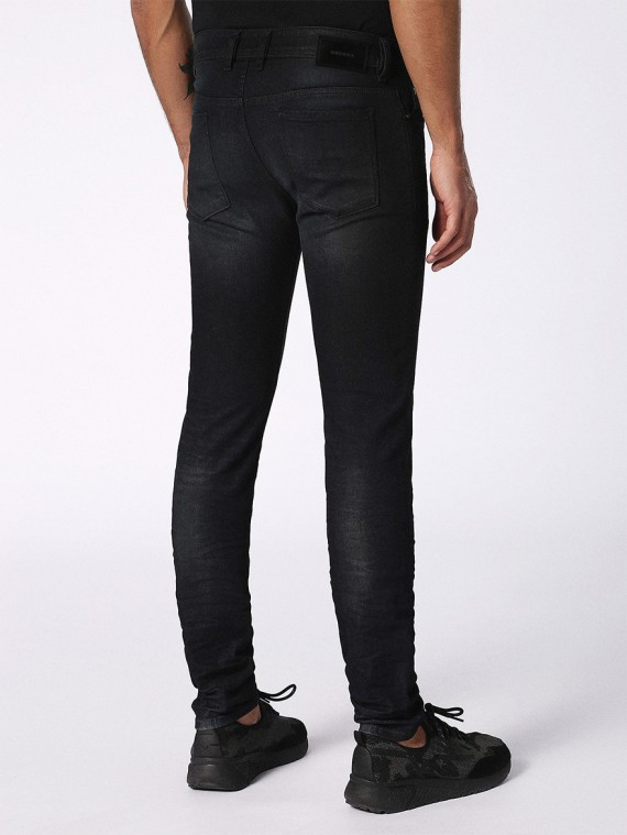 diesel sleenker 0842q mens denim jeans stretch slim fit skinny dark grey pants