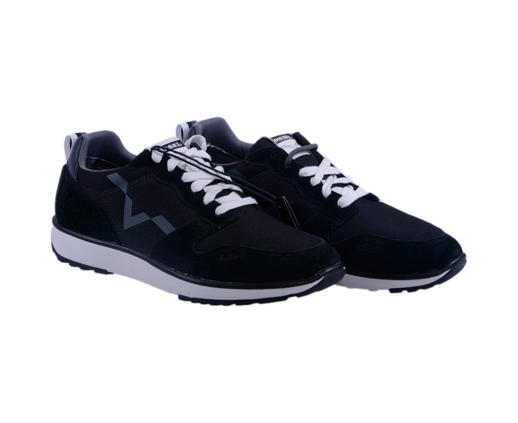 diesel mens sneakers lace up trainers casual running suede leather black shoes