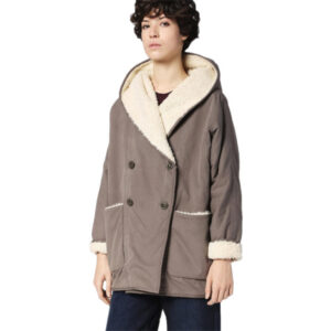 diesel w-brandi womens quilted hooded jacket double breasted trench coat 1 of 7