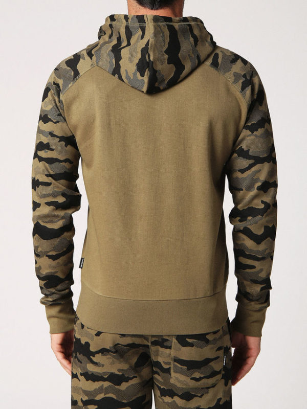 diesel brianz mens hoodie full zipped camoufludge sweatshirt casual hoody tops