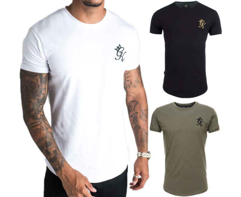 GYM KING Longline Fitted Tee Shirt GK Mens T-Shirt Crew Neck Summer Cotton Top