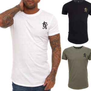 gym king longline fitted tee shirt mens t shirt crew neck top black white olive