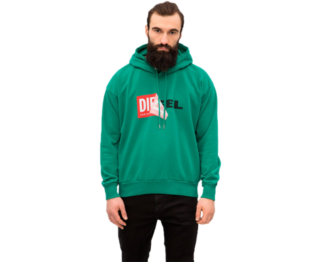 diesel s alby falpa 5hb mens pullover hoodie hooded long sleeve green sweatshirt