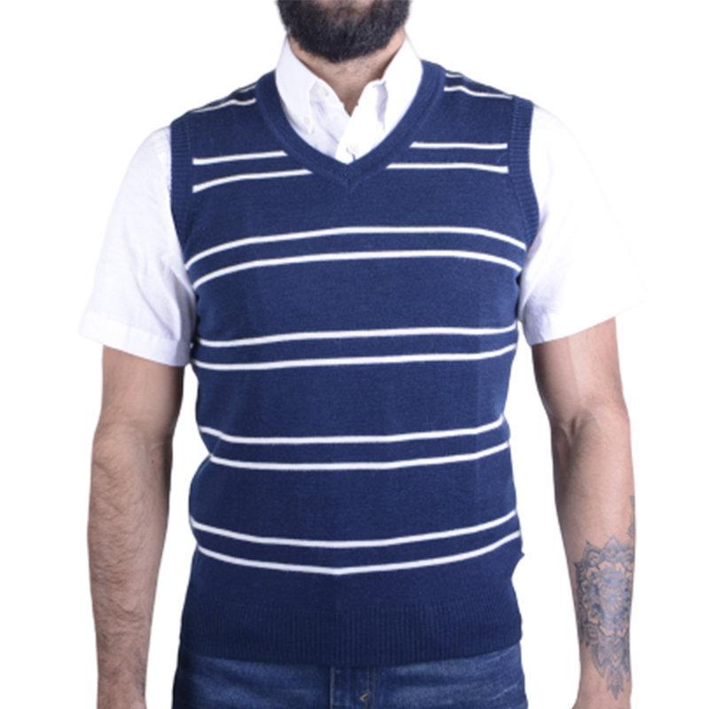 LEVIS Mens Sleeveless Jumper Knitted Vest S Blue V Neck Pullover Golf Sweater