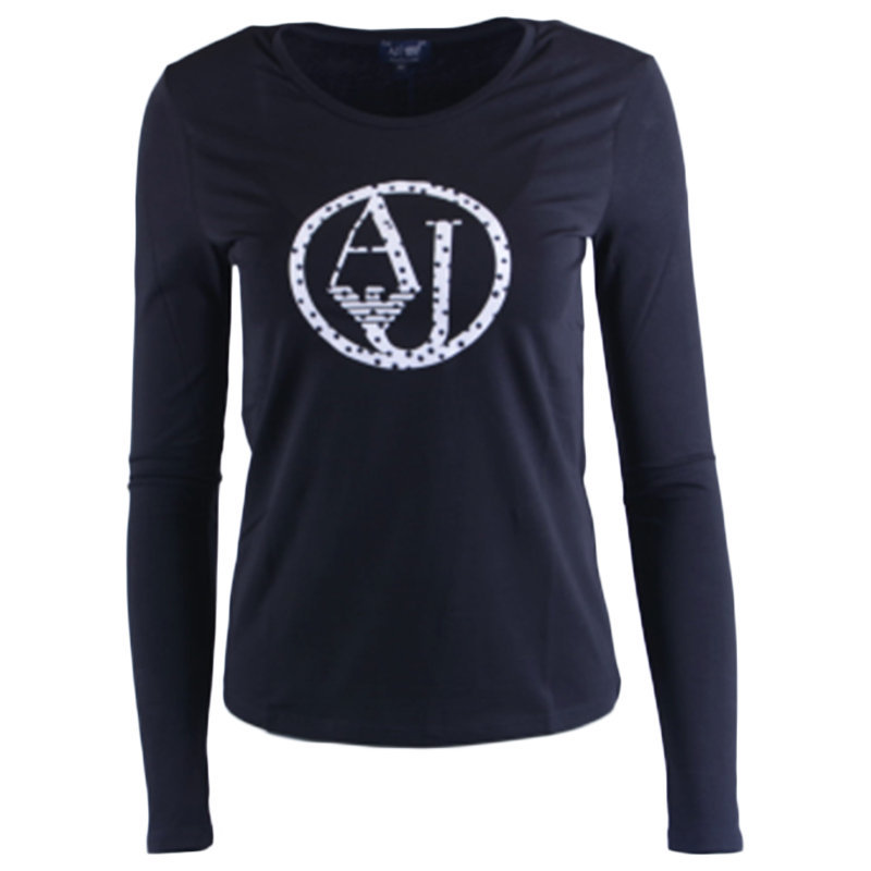 armani jeans 7v5t04 5j00z 0208 womens t-shirt crew neck long sleeve casual tee