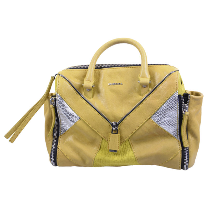 diesel womens hand bag genuine leather yellow cross-body messenger shoulder bag
