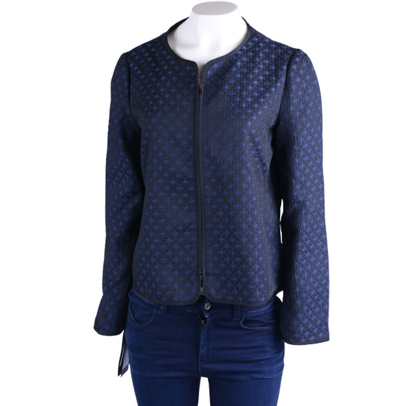armani umg08t um130 womens cardigan full zipped jumper crew neck navy sweatshirt