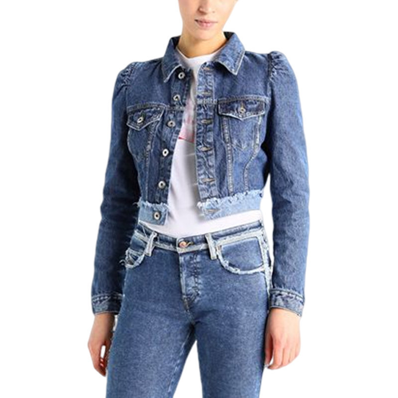 diesel de vivien womens denim jacket blue jeans button cotton elbow flip pockets
