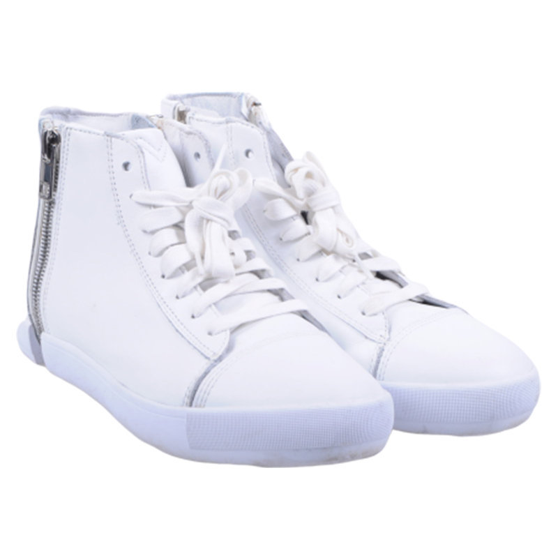 diesel s nentish w eu-38 womens trainers leather high neck lace zip shoes rp-159