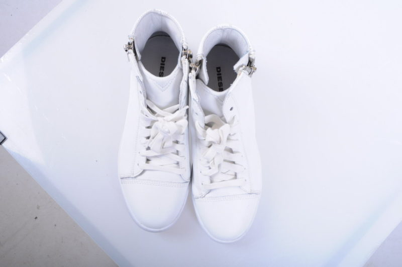 diesel s nentish w eu-40 womens trainers leather high neck lace zip shoes rp-159