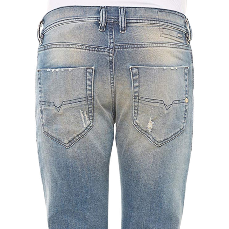 diesel tepphar 0845f mens denim jeans distressed slim carrot stretch pants italy