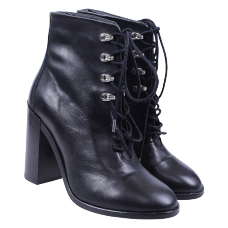 diesel womens boots genuine leather lace up cuban heel casual black shoes rp-180