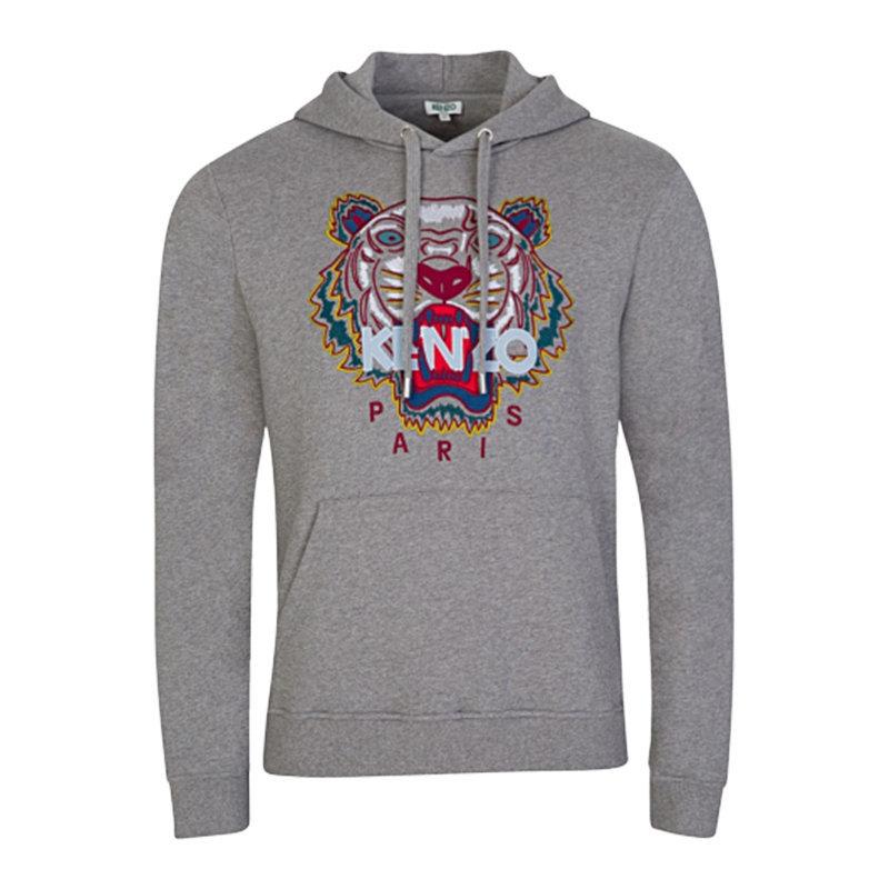 Details about KENZO SWEAT Mens Hoodie Grey Jumper Pullover Hooded Sweatshirt Tiger Print