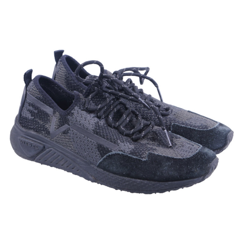 diesel s kby womens trainers lace up sports sneakers casual black shoes rrp-160
