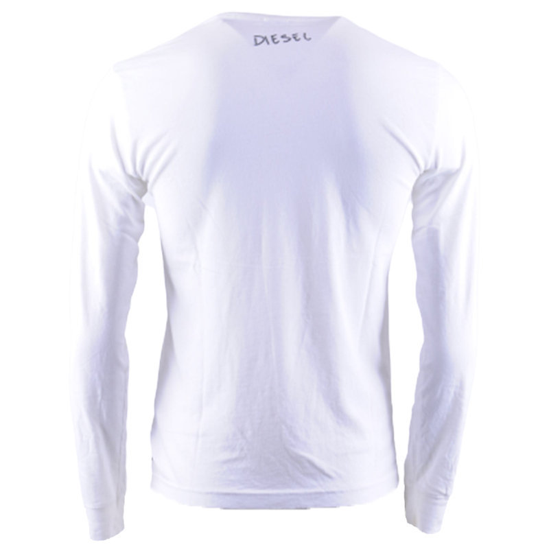 diesel t diego mens t shirt crew neck long sleeve casual outwear white tee