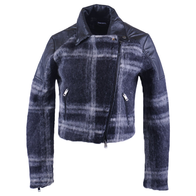 diesel g erian 96x womens bomber jacket wool buffalo check winter outwear coat