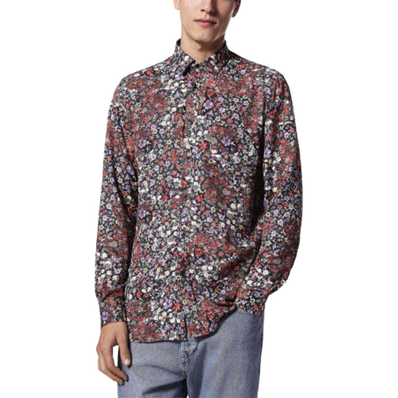 diesel s nico 0qapz 900 mens shirt long sleeve casual summer cotton floral shirt