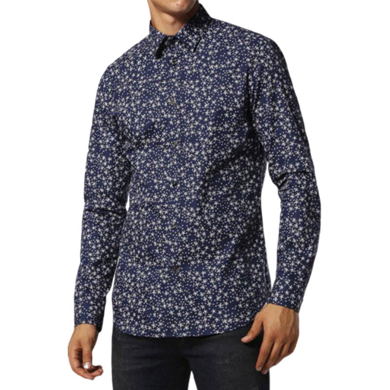 diesel s stary 0kaqb 8at mens shirt long sleeve casual summer cotton navy shirts