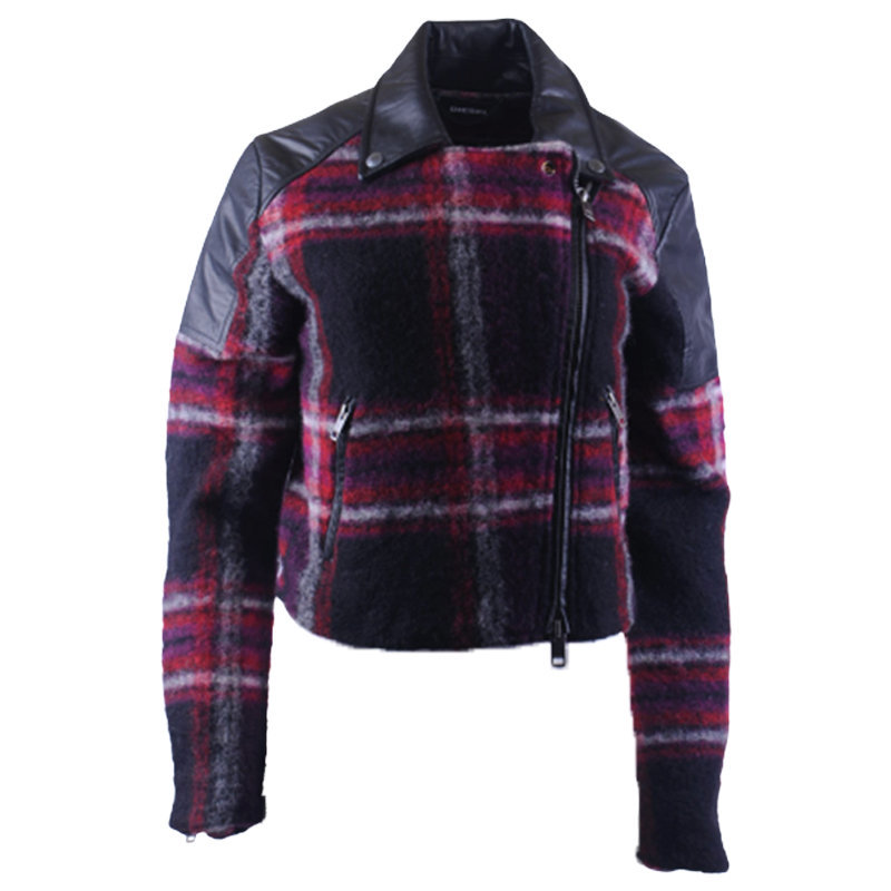 diesel g erian 63g womens bomber jacket wool buffalo check winter outwear coat