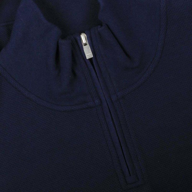 GANT HONEYCOMB Mens Sweatshirt Half Zip High Neck Pullover Jumper Navy Grey