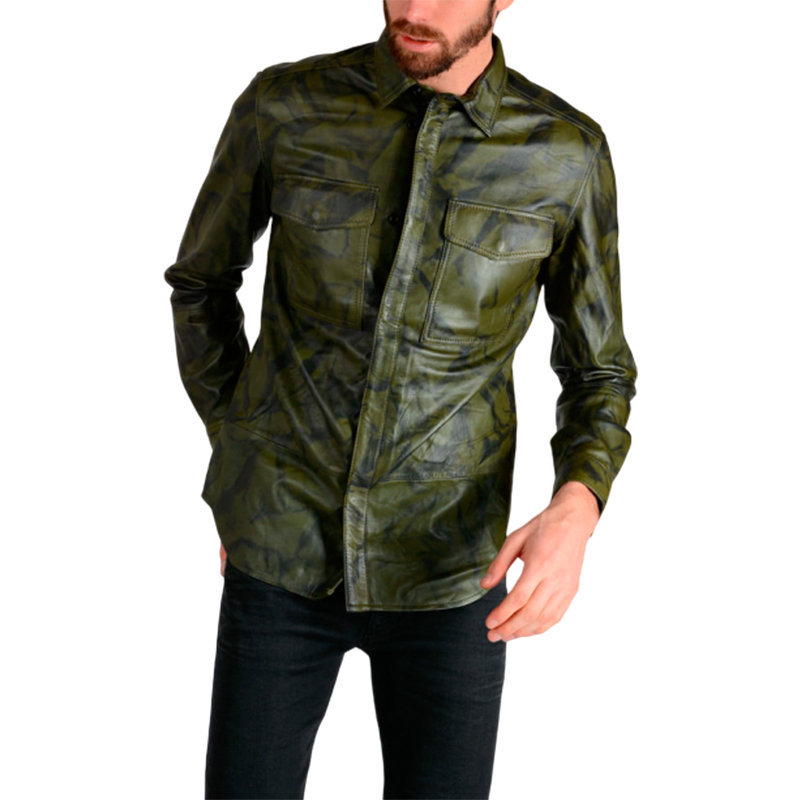 DIESEL L FOCKS Mens Camouflage Jacket Genuine Leather Green Coat ...