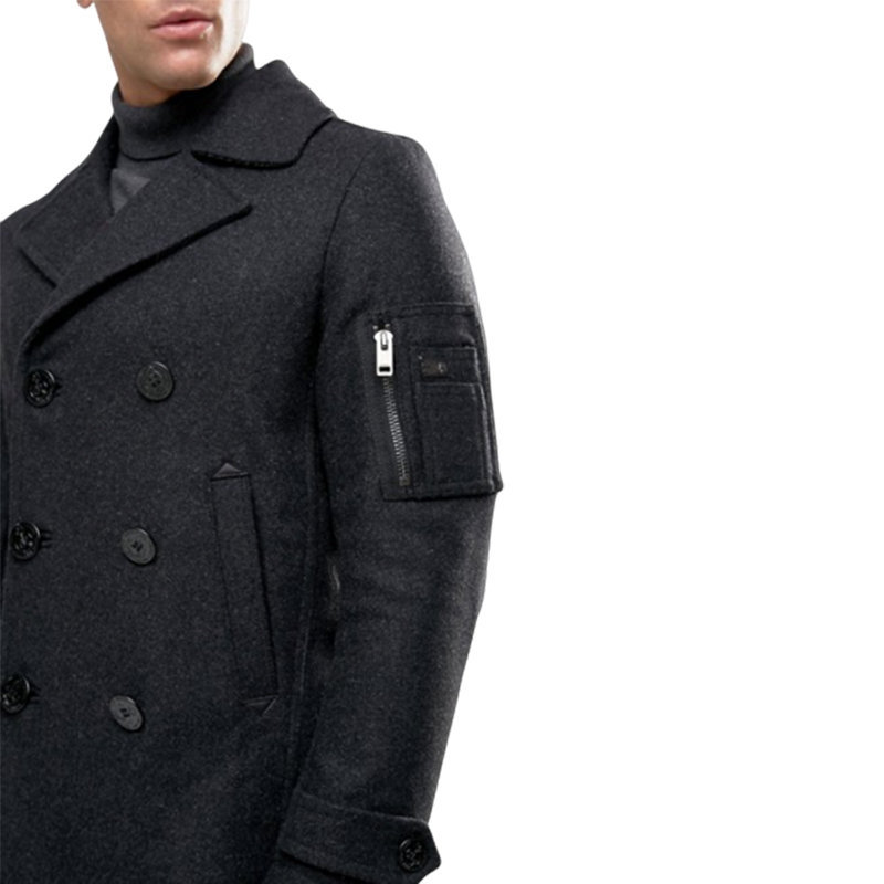 diesel w samico 93r mens trench coat double breasted winter outdoor black coat