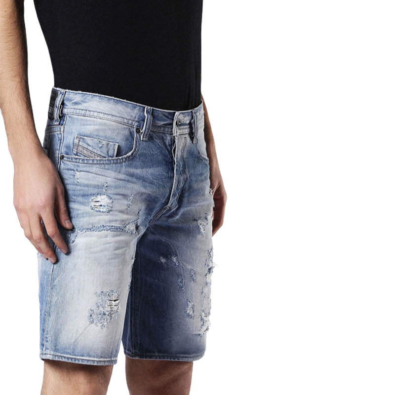 diesel bustshort 084cm mens denim jeans distressed shorts faded summer beachwear