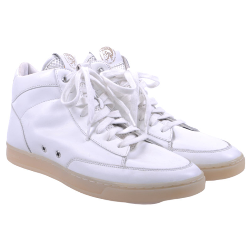 diesel hi culture mens trainers cow leather lace up casual white shoes rrp-150