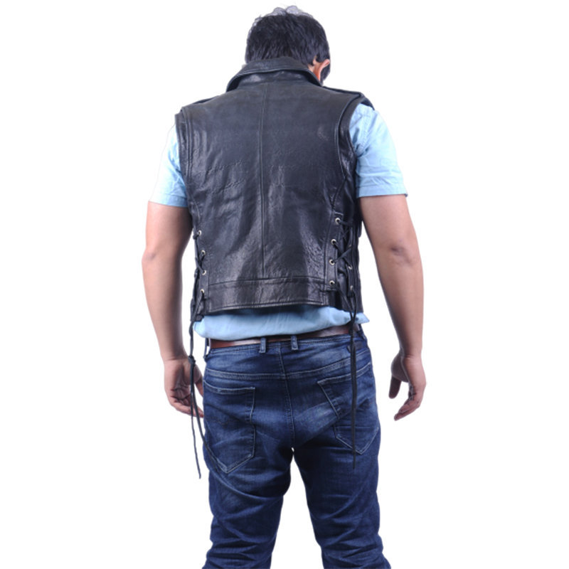 diesel l cluster mens biker jacket genuine leather cafe racer sleeveless coat
