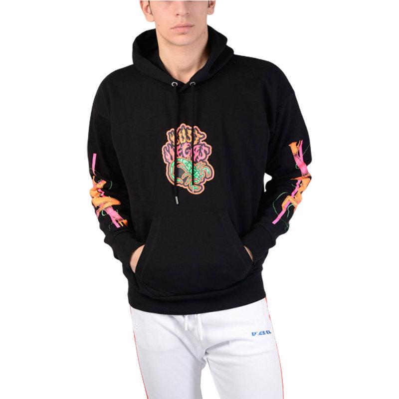 diesel s alby sc 900 mens sweatshirt pullover hoodie fluo printed lounge wear
