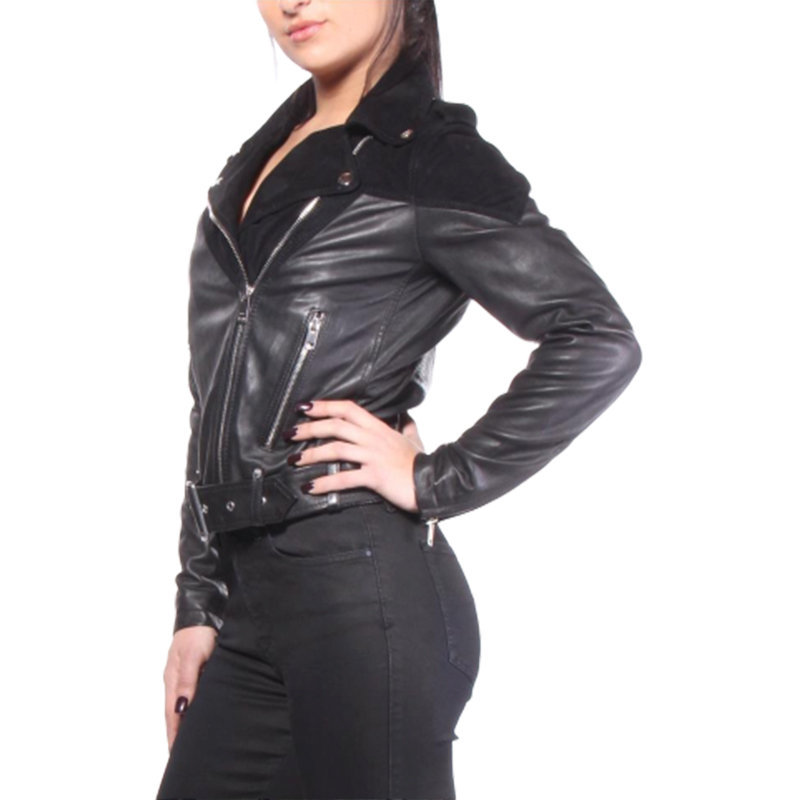 diesel l cygni womens genuine leather biker jacket size s zipped slim fit coat