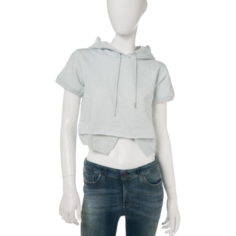diesel f irma 0qanl womens sweat hoodie summer black hooded cropped top sky blue